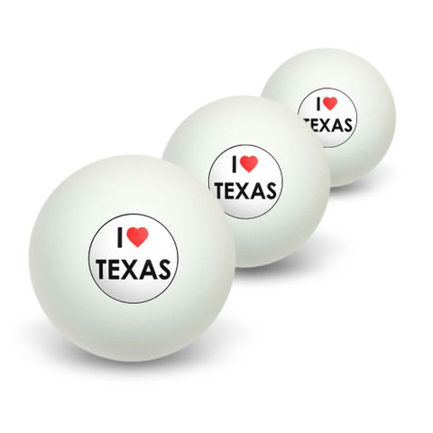 I Love Heart Texas Novelty Table Tennis Ping Pong Ball 3 Pack