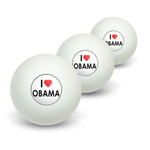I Love Heart Obama Novelty Table Tennis Ping Pong Ball 3 Pack