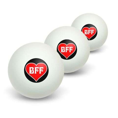 BFF - Best Friends Forever - Red Heart Novelty Table Tennis Ping Pong Ball 3 Pack