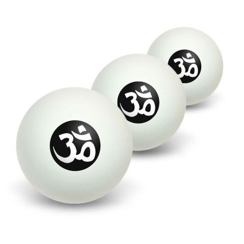 Om Aum Yoga White on Black Novelty Table Tennis Ping Pong Ball 3 Pack