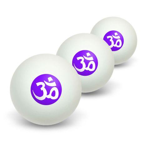 Om Aum Yoga White on Purple Novelty Table Tennis Ping Pong Ball 3 Pack