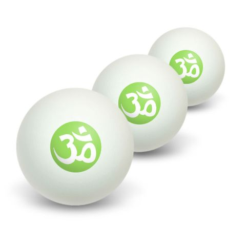 Om Aum Yoga White on Green Novelty Table Tennis Ping Pong Ball 3 Pack