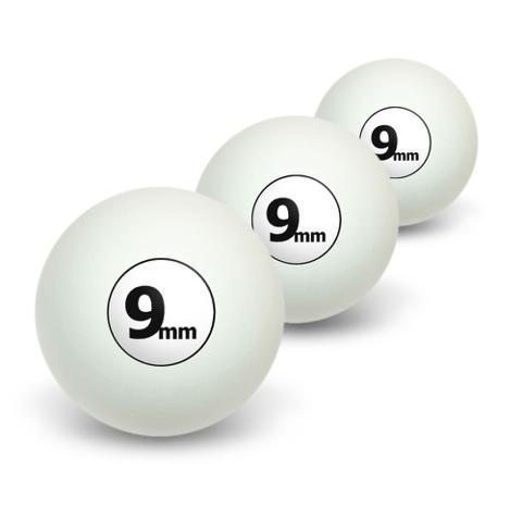 9mm Gun Weapon Bullet Novelty Table Tennis Ping Pong Ball 3 Pack