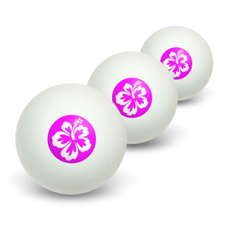 Hibiscus Pink Novelty Table Tennis Ping Pong Ball 3 Pack