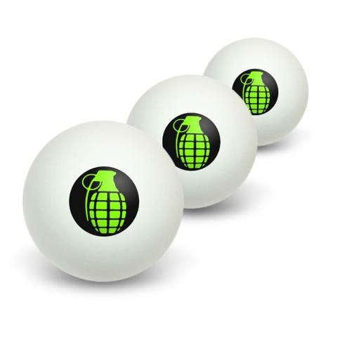 Hand Grenade on Black Novelty Table Tennis Ping Pong Ball 3 Pack