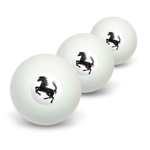 Horse Rearing Up on White Novelty Table Tennis Ping Pong Ball 3 Pack