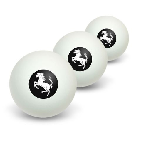 Horse Rearing Up on Black Novelty Table Tennis Ping Pong Ball 3 Pack