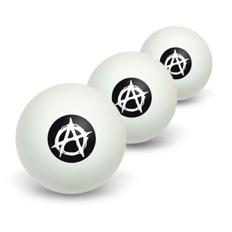 Anarchy Symbol Novelty Table Tennis Ping Pong Ball 3 Pack