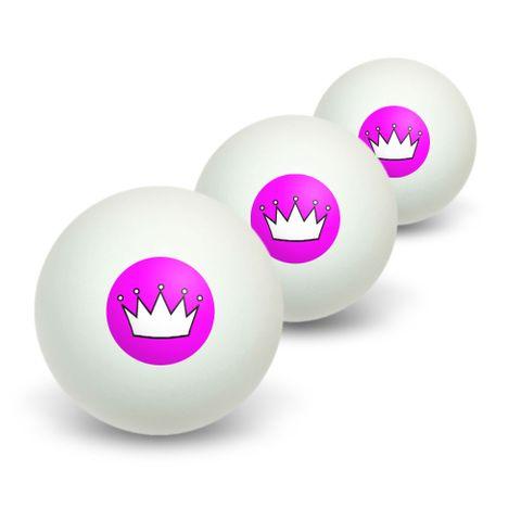 Princess Crown Tiara Novelty Table Tennis Ping Pong Ball 3 Pack
