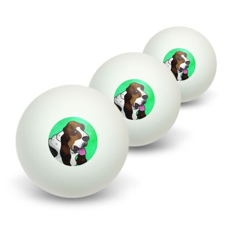Basset Hound Green Novelty Table Tennis Ping Pong Ball 3 Pack