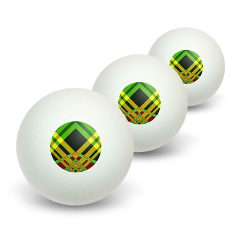 Geometric Stripes Green Yellow Red Novelty Table Tennis Ping Pong Ball 3 Pack
