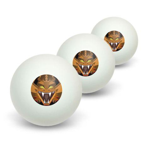 Geometric Dragon Orange Black Novelty Table Tennis Ping Pong Ball 3 Pack