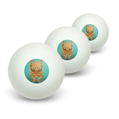 Geometric Octopus Orange Teal Novelty Table Tennis Ping Pong Ball 3 Pack