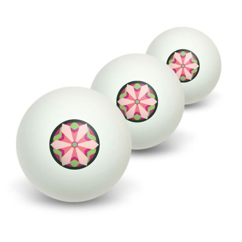 Geometric Flowers Magenta Lime Mint - Floral Novelty Table Tennis Ping Pong Ball 3 Pack