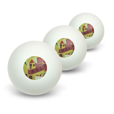 Steampunk Town Green - Science Fiction Fantasy Novelty Table Tennis Ping Pong Ball 3 Pack