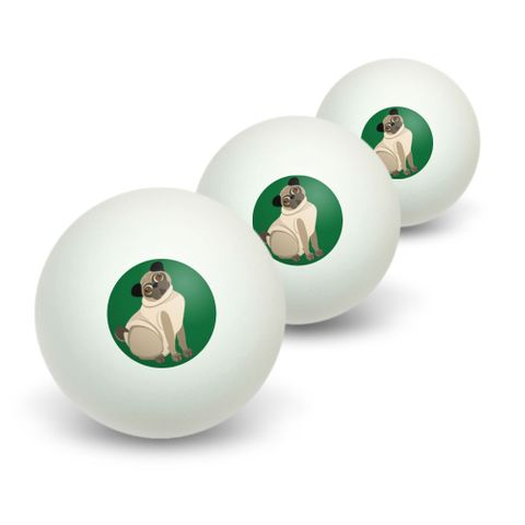 Pug Green - Dog Pet Novelty Table Tennis Ping Pong Ball 3 Pack