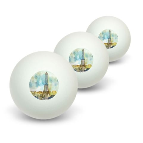 Watercolor Paris - Eiffel Tower France Novelty Table Tennis Ping Pong Ball 3 Pack