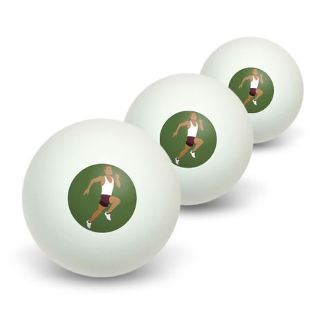 Runner - Running Track Long Distance Cross Country Novelty Table Tennis Ping Pong Ball 3 Pack