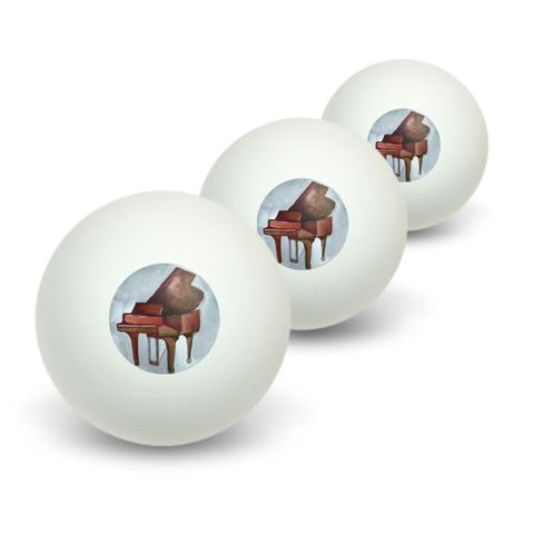 Painted Grand Piano Neutrals - Music Musician Novelty Table Tennis Ping Pong Ball 3 Pack
