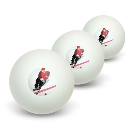 Ice Hockey Player Red Jersey Novelty Table Tennis Ping Pong Ball 3 Pack