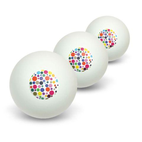 Rainbow Polka Dots White Novelty Table Tennis Ping Pong Ball 3 Pack