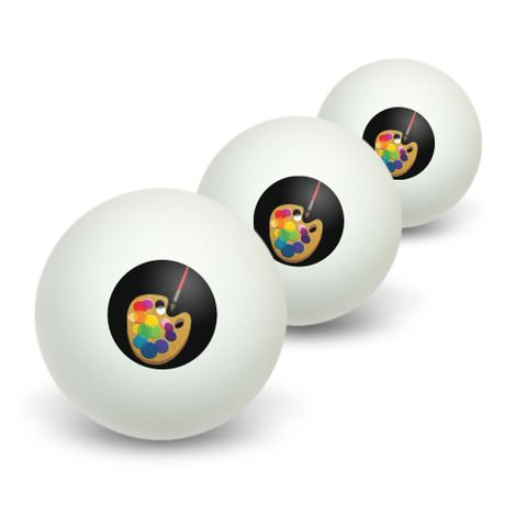 Painters Palette Black - Artist Painting Novelty Table Tennis Ping Pong Ball 3 Pack