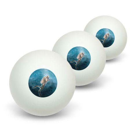 Scuba Diver Blue - Ocean Diving Novelty Table Tennis Ping Pong Ball 3 Pack