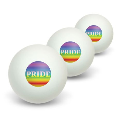 Rainbow Spectrum Pride - Gay Lesbian Novelty Table Tennis Ping Pong Ball 3 Pack