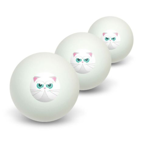 Persian Cat Face Novelty Table Tennis Ping Pong Ball 3 Pack