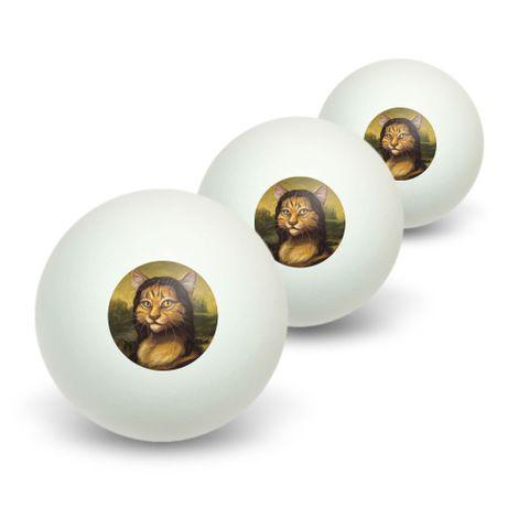 Meowna Lisa Cat Parody - Mona Lisa Leonardo da Vinci Novelty Table Tennis Ping Pong Ball 3 Pack