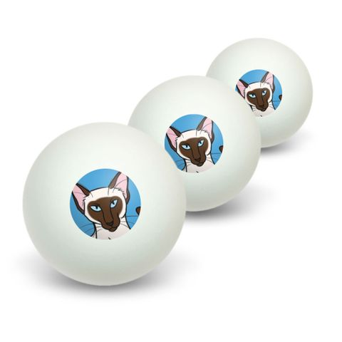 Siamese Cat - Pet Novelty Table Tennis Ping Pong Ball 3 Pack