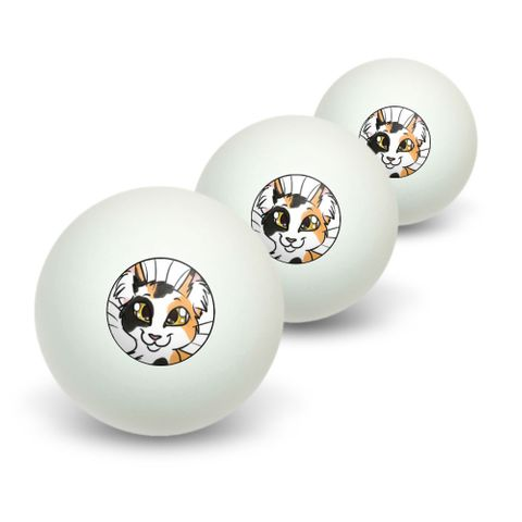 Calico Cat - Pet Novelty Table Tennis Ping Pong Ball 3 Pack