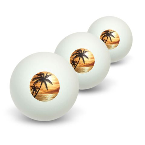 Orange Beach Sunset - Ocean Palm Tree Vacation Paradise Novelty Table Tennis Ping Pong Ball 3 Pack