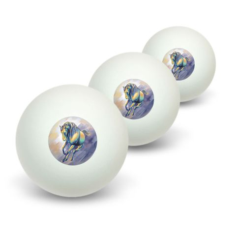 Horse Running - Painting Novelty Table Tennis Ping Pong Ball 3 Pack