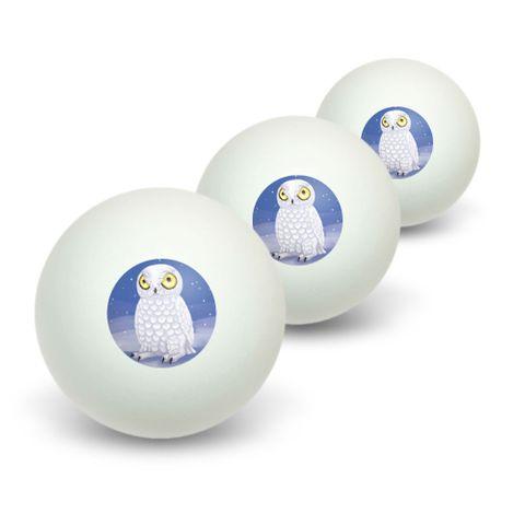 Snowy Owl - Bird Snow Novelty Table Tennis Ping Pong Ball 3 Pack