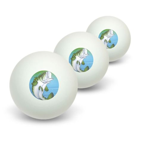 Bass Fish Jumping out of water - Fishing Novelty Table Tennis Ping Pong Ball 3 Pack