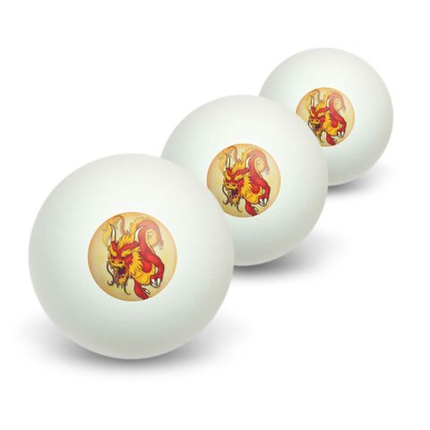 Red Chinese Dragon - Flying Serpent Fantasy Novelty Table Tennis Ping Pong Ball 3 Pack