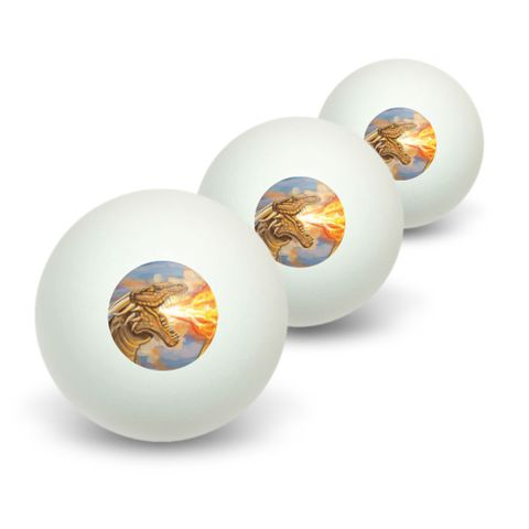 Golden Dragon Breathing Fire - Fantasy Medieval Novelty Table Tennis Ping Pong Ball 3 Pack