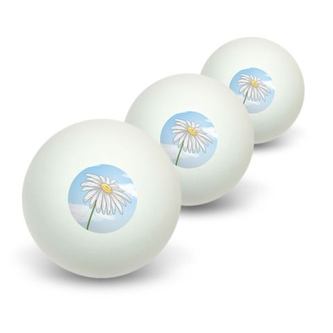 White Daisy on Blue Sky - Flower Novelty Table Tennis Ping Pong Ball 3 Pack