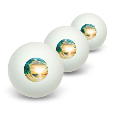 Ocean Wave - Sunset Beach Sea Novelty Table Tennis Ping Pong Ball 3 Pack