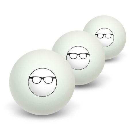 Hipster Glasses Novelty Table Tennis Ping Pong Ball 3 Pack