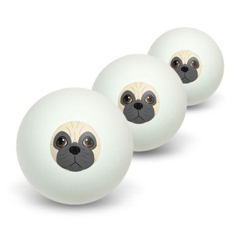 Pug Face - Dog Pet Novelty Table Tennis Ping Pong Ball 3 Pack