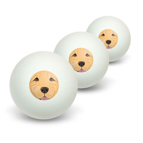 Golden Retriever Face - Pet Dog Novelty Table Tennis Ping Pong Ball 3 Pack