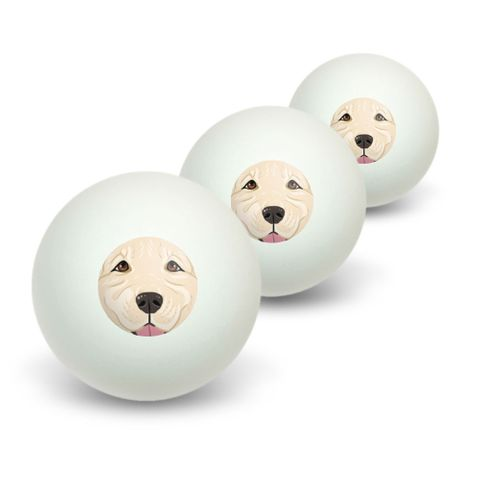 Light White Golden Retriever Face - Pet Dog Novelty Table Tennis Ping Pong Ball 3 Pack