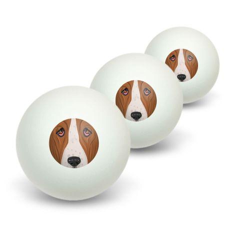 Basset Hound Face - Dog Pet Novelty Table Tennis Ping Pong Ball 3 Pack