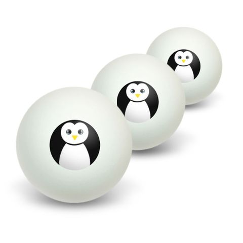 Penguin - Black and White Novelty Table Tennis Ping Pong Ball 3 Pack