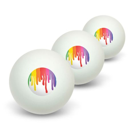 Rainbow Paint Drip - Pride Ink Colors Novelty Table Tennis Ping Pong Ball 3 Pack