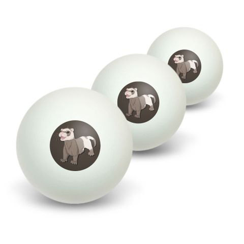 Ferret - Pet Brown Novelty Table Tennis Ping Pong Ball 3 Pack