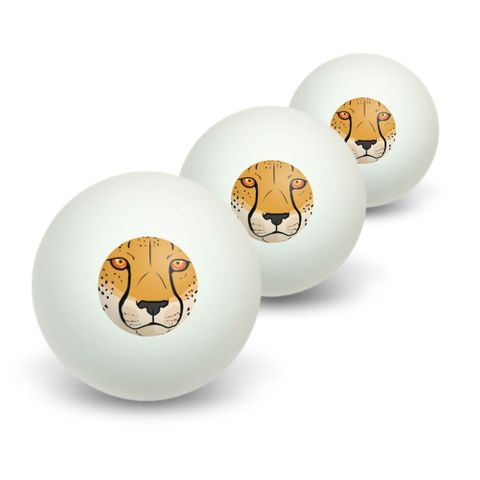 Cheetah Face - Safari Big Cat Novelty Table Tennis Ping Pong Ball 3 Pack