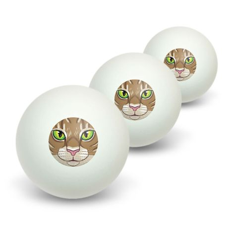 Brown Tabby Cat Face - Pet Kitty Novelty Table Tennis Ping Pong Ball 3 Pack